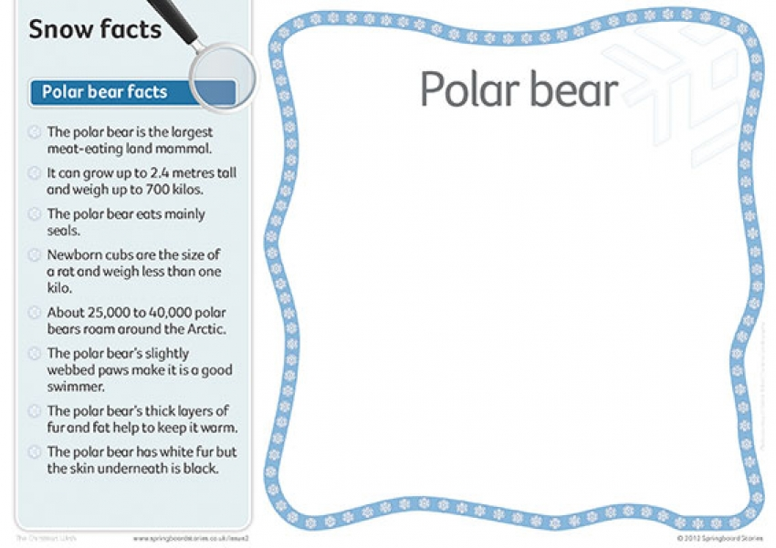 Snow fact cards – text only