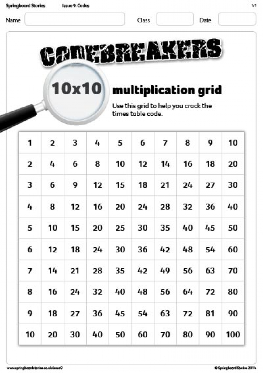 10x10 multiplication grid